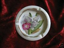 "Gorgeous Vintage Ashtray With Flowers & Real Gold Accent 5"" VERY NICE!"