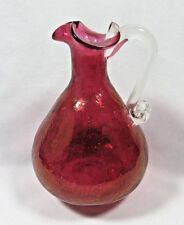 Vintage Cranberry Crackle Glass Pitcher w/ Ruffed Edge