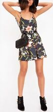 NEW LADIES WOMENS BLACK FLORAL TIE STRAP SWING DRESS SIZE 6,8,10