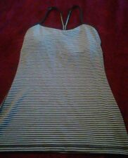 Lululemon Black&Gray Striped  Power Y ? Top Sz 4 Work Out Yoga Sexy(D)