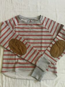 Womens Sweatshirt Cropped striped Elbow Patches Grey size 8