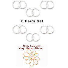 USA Seller 6pairs Set with Gift 10mm Small Hoop Sterling Silver 925 Jewelry