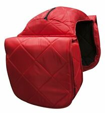 WESTERN HORSE LARGE SADDLE BAG OR MOTORCYCLE SADDLE BAGS RED QUILTED NYLON