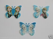 12 PRE CUT FROZEN ANNA ELSA EDIBLE RICE WAFER CARD  BUTTERFLY CUPCAKE TOPPERS