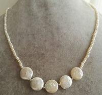 charme echte kultivierte 3-4mm &12-13mm weiße Münzen-Perlen-Halsketten 17 zoll