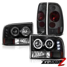 99-04 Ford F250 F350 F450 SuperDuty Tinted Tail Lights Black Halo LED Headlights