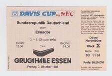 Orig.Ticket   Tennis Davis Cup 1986  DEUTSCHLAND - ECUADOR  //  03.10. !! SELTEN