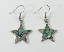 Alpaca silver star earrings with shell inlay and surgical steel ear wires