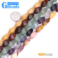 """Natural Assorted Stones Twist Beads For Jewelry Making Free Shipping 15"""" 8X16mm"""