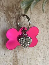 Personalized PET ID TAGS  ENGRAVED DOG CAT NAME TAG Pink Bone W/ Bling Heart