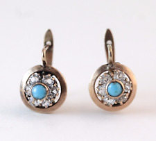 Victorian Turquoise & Past Petite Pierced Earrings 10k Yellow Gold