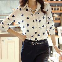 Women Lady White Loose Chiffon Blouse Tops Star Print Casual Long Sleeve T-Shirt