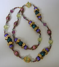 Vintage Plastic Lucite Long Multicolor Beads Necklace Gold Filled Clasp
