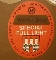 OLD POLISH BEER LABEL, BROWAR WARKA PIWO WARECKIE POLAND, SPECIAL LIGHT 2