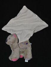 Peluche doudou ours cajou gris rose SUCRE D'ORGE mouchoir blanc 15 cm TTBE