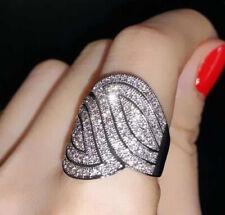 Luxurious Women Jewelry Fashion 925 Silver White Sapphire Ring Wedding Band Gift