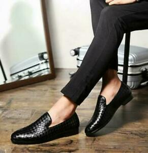 Mens British Shiny Grid Flats Casual Loafers Dress Shoes Slip On Weave Printed