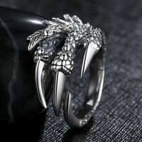 Stainless Steel Gothic Jewelry Dragon 4 Claw Ring punk goth eagle demon metal UK