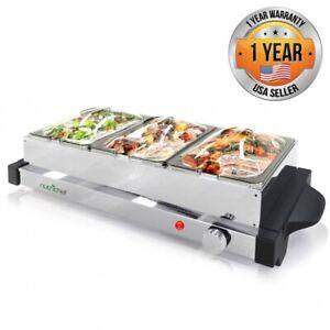 NutriChef PKBFWM24 Electric Hot Plate Food Warmer Buffet Server. 3 Tray Style