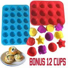 New listing Silicone Muffin Pan Mini 24 Cups Baking Trays Molds 12 Reusable Cupcake Liners