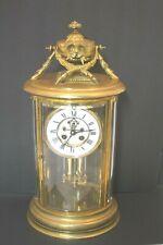 Antique 19thc French Crystal Regulator Bronze Brass Mantel Clock Working Cond.