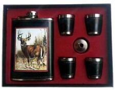 GIFT SET FLASK AND SHOT GLASSES SET WITH BIG BUCK DEER drink hip #638 forest new