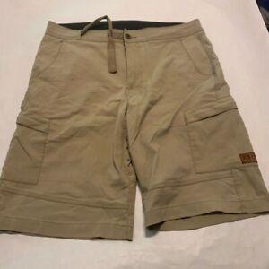 Prana Mens Hiking Cargo Shorts Beige Flap Pockets Flat Front Adjustable Waist M