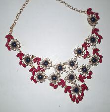 Meghan LA Fabulous Statement Bib Necklace Fuschia & Navy Enamel w/Crystals Gold