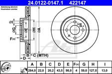 2x Bremsscheibe für Bremsanlage Vorderachse ATE 24.0122-0147.1