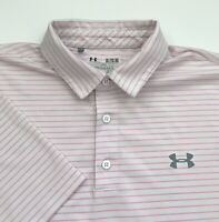 Under Armour Men's UA Playoff Stripe Golf Polo Shirt White Pink XL