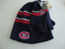 MONTREAL CANADIENS NHL Navy Blue Men Boy Hat Tuque and Gloves Set - NEW