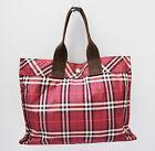 Burberry London Blue Label Handbag Tote Grab Bag Nova Check Designer Maroon Red