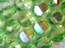 VTG 50 GREEN AB IRIS 2 WAY FIRE POLISHED GLASS NUGGET BEADS 8mm #052215w