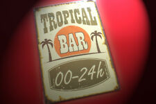 NEW RETRO METAL SIGN - TROPICAL BAR - Beach Man Cave Cocktails - Free Post