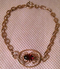 Antique Style Sterling Silver and Pyrope Garnet Bracelet (7.25 inches)