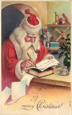A Merry Christmas!, Santa Writing Notes In His Workshop, Santa Claus 1911