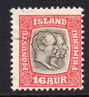 Iceland 16 Aur Official Stamp c1907-08 Fine Used (3374)
