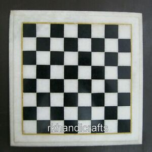 09 Inches White Marble Game Table Top Inlay Coffee Cum Chess table Best for Kids