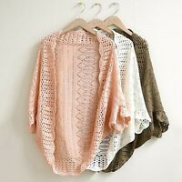Women Crochet Kimono Hollow Knit Tops Knitwear Coat Outwear Cardigan Fashion