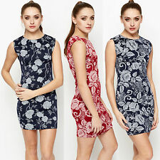 Womens Rose Floral Bodycon Dress Navy and Wine