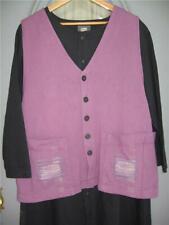 Art to Wear ~ Blue Fish 2 pocket boxy vest, Fall 1999, size 1, wine ~ Lagenlook