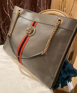Stunning!* NWT GUCCI LARGE RAJAH TOTE, Shoulder Bag, Handbag in Grey Leather NWT