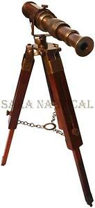 Vintage Brass TELESCOPE With Wooden Tripod Stand Collectible Antique Desk Decor