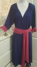 Leona Edminson plus sz M dress soft stretch jersey faux wrap style blue pink cyc