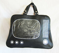 Retro messenger/gym/holdall/sports bag in shape of old-fashioned TV, black new