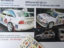 DECAL 1 43 FORD ESCORT COSWORTH N°24 Rally WRC MONTE CARLO 1998 montecarlo