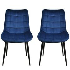 2PCS Modern Kitchen Dining Chairs Soft Velvet Seat Cushion Covers Metal Legs