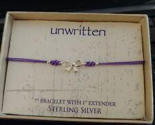 Unwritten Sterling Silver Bow Bracelet Purple Rope Friendship
