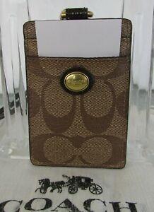 Coach ID Lanyard Card Holder Badge Case Khaki Peyton 68661 Dust Bag NWT