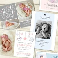 10 x Personalised New Baby Thank You Cards / Announcement inc Envelopes + Photo